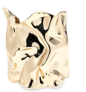 Alexis Bittar Crumpled Gold Wide Cuff Bracelet