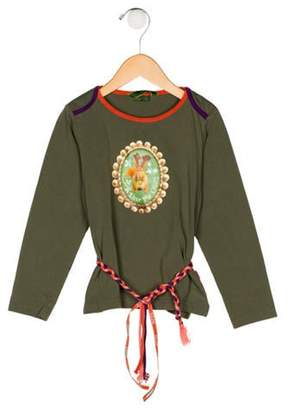Oilily Girls' Graphic Print Top olive Girls' Graphic Print Top