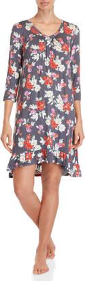 Company Ellen Tracy Floral Three-Quarter Sleeve Nightgown