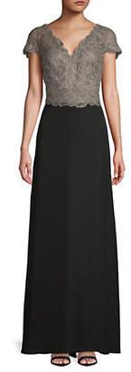Tadashi Shoji Lace Short-Sleeve Gown