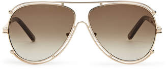 Chloé CE121S Gold-Tone Aviator Sunglasses