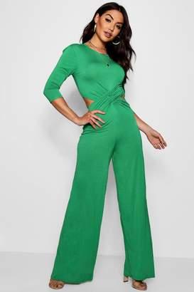 boohoo Twist Front 3/4 Sleeve Culotte Jumpsuit