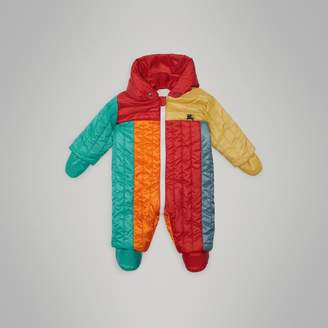 Burberry Childrens Colour Block Quilted Puffer Suit