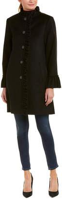 Sofia Cashmere Sofiacashmere Ruffle Wool-Blend Coat