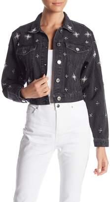 Romeo & Juliet Couture Embellished Pearl Denim Jacket