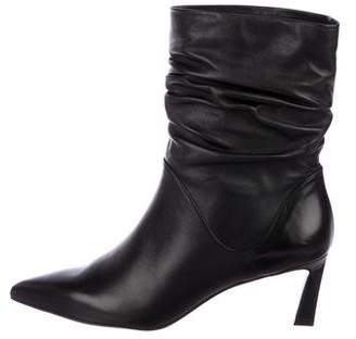 Stuart Weitzman Ruched Leather Ankle Boots