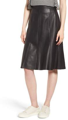 Nordstrom Signature Fit & Flare Leather Skirt