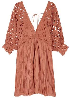 Free People Bella Note Eyelet-embroidered Mini Dress