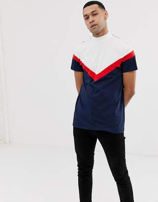 Asos DESIGN longline t-shirt with turtleneck and chevron cut and sew in navy