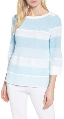 Ming Wang Bow Back Stripe Sweater
