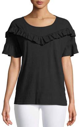 Paige Adalie Ruffle Short-Sleeve Top, Black