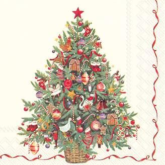 Boston International Classic Christmas Tree Paper Cocktail Napkins, Set of 20