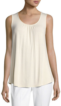 Neiman Marcus Lace-Back Jersey Tank Top, Ivory $49 thestylecure.com
