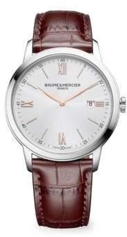 Baume & Mercier Classima 10415 Silver& Alligator Watch