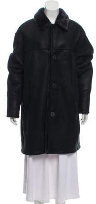 Andrew Marc Suede Fur-Trimmed Coat