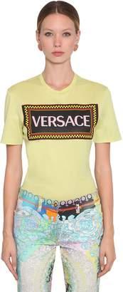 Versace (ヴェルサーチ) - VERSACE ロゴプリント コットンジャージーTシャツ