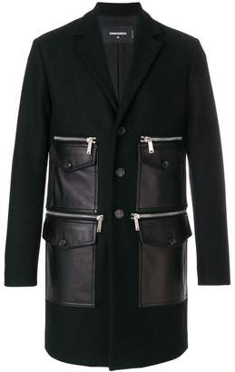 DSQUARED2 leather pocket coat