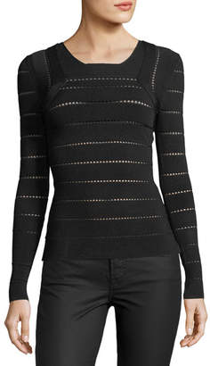 Narciso Rodriguez Open-Knit Square-Neck Sweater