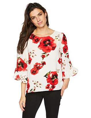 Bobeau Women's Apparel Women's Printed Flounce Sleeve Blouse