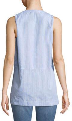 Neiman Marcus Mixed-Stripe Sleeveless Button-Front Blouse