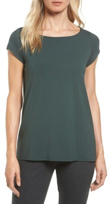 Women's Eileen Fisher Bateau Neck High/low Tee $108 thestylecure.com