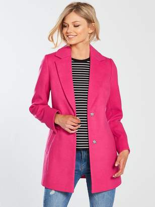 V by Very Petite SIngle Breasted Formal Coat - Pink