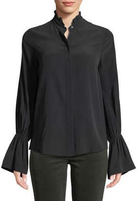 L'Agence Leyla Ruffle-Collar Silk Bell-Sleeve Blouse