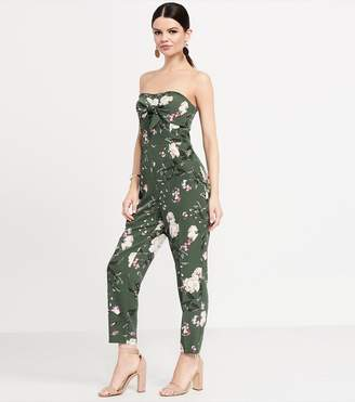 Dynamite Jumpsuit With Front Tie GREEN/ FLORAL PRINT