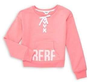 Bebe Girl's Laced-Neckline Sweater