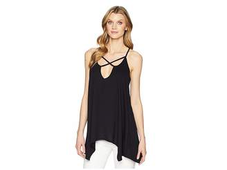 Roper 1609 Polyester Blend Knit Cross Front Tank Women's Clothing