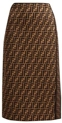Fendi Logo Jacquard Stretch Pencil Skirt - Womens - Brown Multi