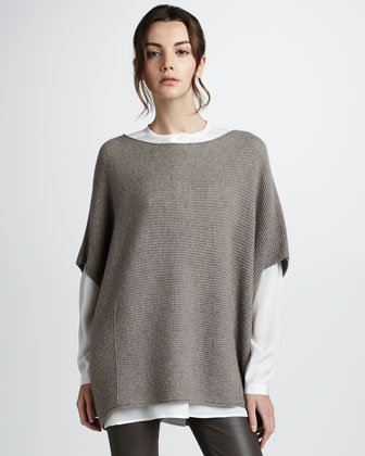 Vince Poncho-Style Sweater, Sand