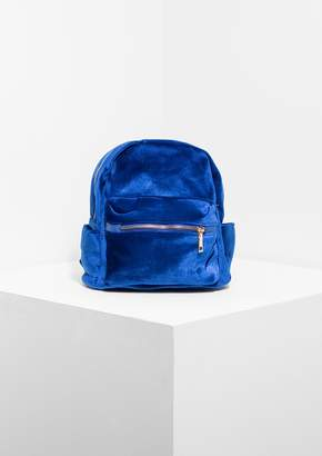 Missy Empire Missyempire Cara Electric Blue Velvet Mini Backpack