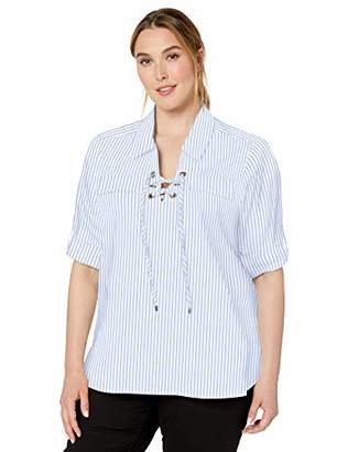 Calvin Klein Women's Plus Size Stripe Poplin with Lace Up Front