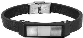 FINE JEWELRY Mens Two-Tone Stainless Steel Leather Bracelet