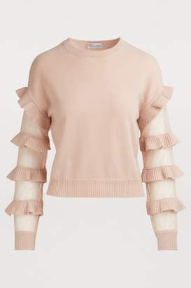 RED Valentino Sheer-sleeved sweater