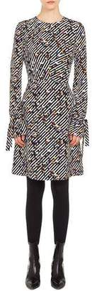 Akris Punto Long-Sleeve Crossroad-Print A-Line Knee-Length Dress
