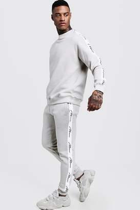boohoo MAN Signature Tape Sweater Tracksuit