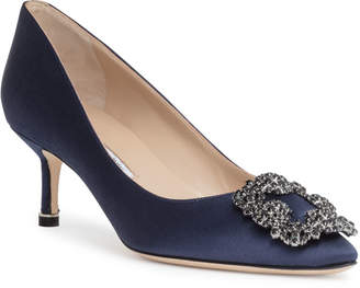 Manolo Blahnik Hangisi 50 navy satin pump