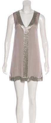 Alice + Olivia Sleeveless Silk Embellished Dress Silver Sleeveless Silk Embellished Dress