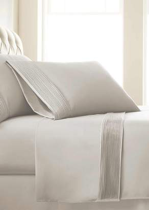 SOUTHSHORE FINE LINENS King Sized Premium Collection Double Brushed Extra Deep Pocket Pleated Sheet Set - Bone