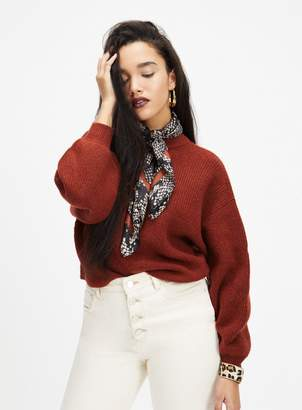 Miss Selfridge Rust Soft Touch Funel Neck knitted Jumper