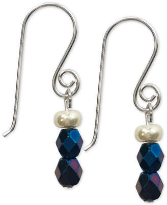 Jody Coyote Iridescent Dark Glass Bead Drop Earrings in Sterling Silver & Silver-Plate