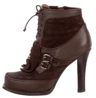 Tabitha Simmons Leather Lace-Up Booties