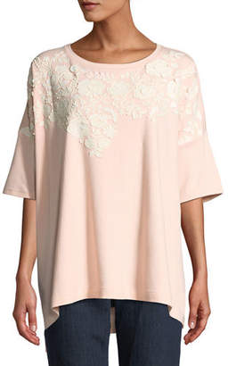 Joan Vass Petite Relaxed Big Tee with Beaded Floral Applique