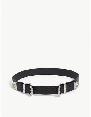 Maje Ariona double buckle high waisted reptile-embossed leather belt