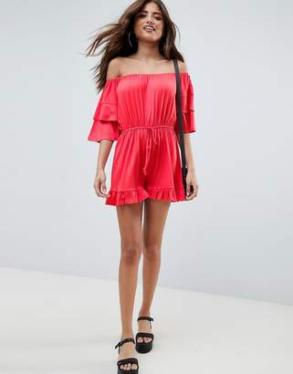 Asos DESIGN off shoulder jersey romper with frill hem