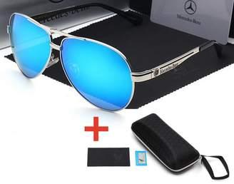 Warehouse Sunglasses 2019 New Mercedes Polarized Men Classic Sunglasses (Silver Blue+Free Box)