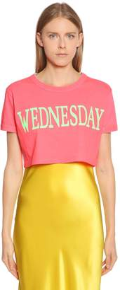 Alberta Ferretti Wednesday Cotton Jersey Cropped T-Shirt
