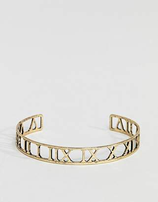 Asos DESIGN Bangle With Roman Numerals In Burnished Gold